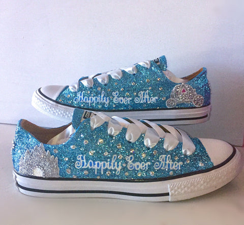 Womens Sparkly Glitter Bling Converse All Stars Baby Blue Cinderella wedding  bride shoes 3bd46edb0