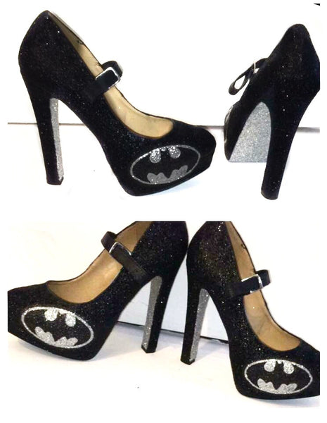 Women's Sparkly Batman SuperHero black silver Glitter Mary Jane Heels wedding bride shoes