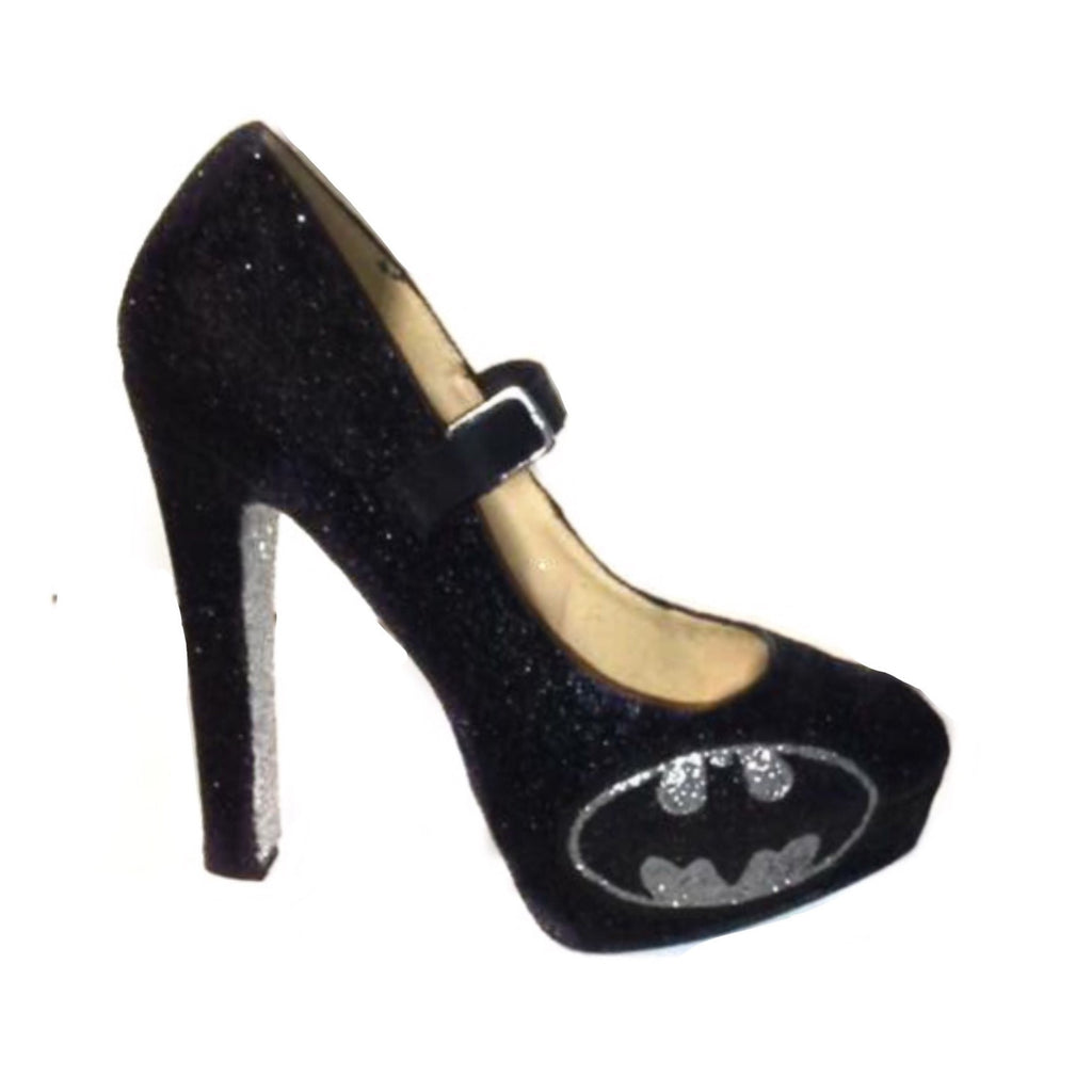 4204ad138deb ... Women s Sparkly Batman SuperHero black silver Glitter Mary Jane Heels  wedding bride shoes