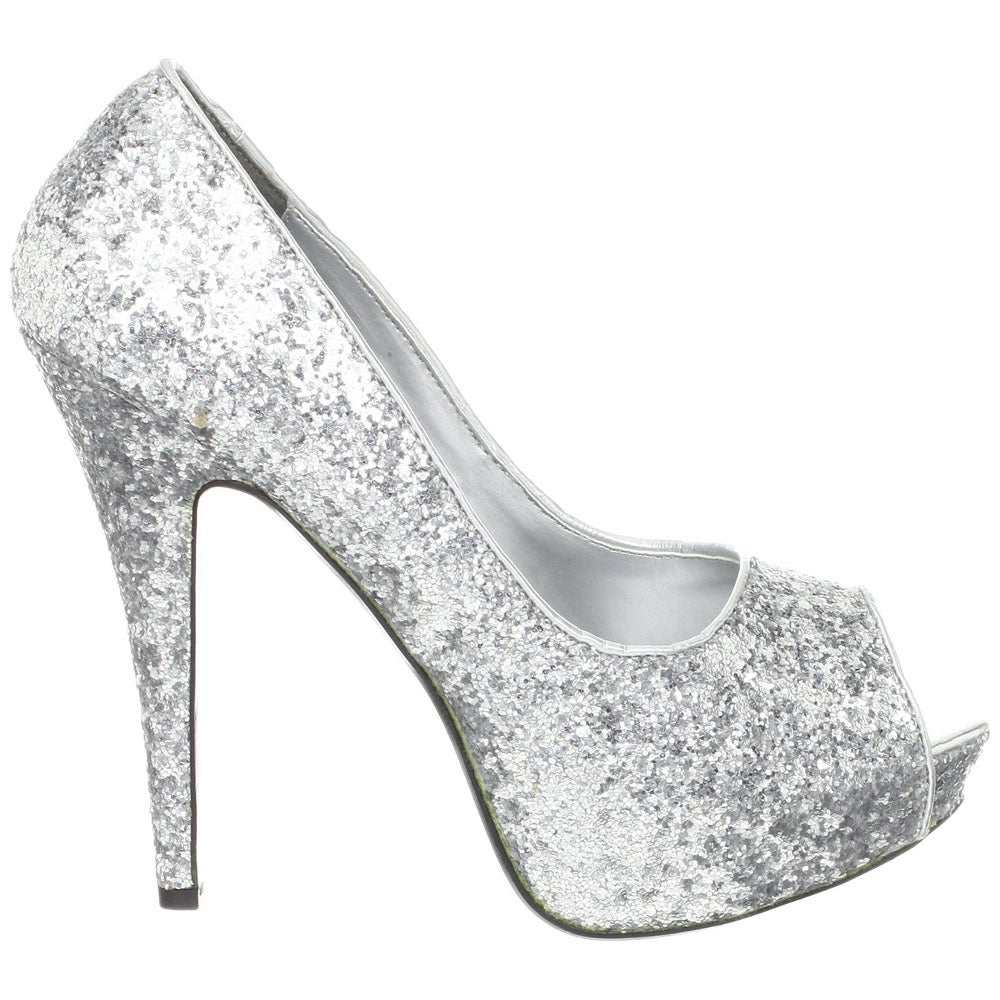 ... Womenu0027s Sparkly Silver Glitter Peep Toe Heels Shoes Wedding Bride Pumps  ...
