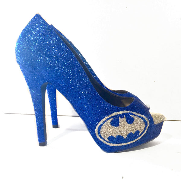 Women's Sparkly SuperHero Royal Blue Silver Glitter Heels shoes Batman Wedding bride gif