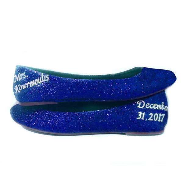 Sparkly Royal Blue Glitter Ballet Flats shoes wedding bride Prom Graduation Sweet 16 Bridal