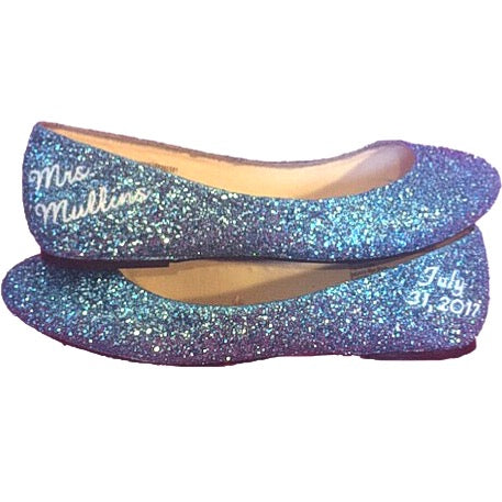 Womens Sparkly Cinderella Blue white Glitter ballet Flats shoes Personalized wedding bride