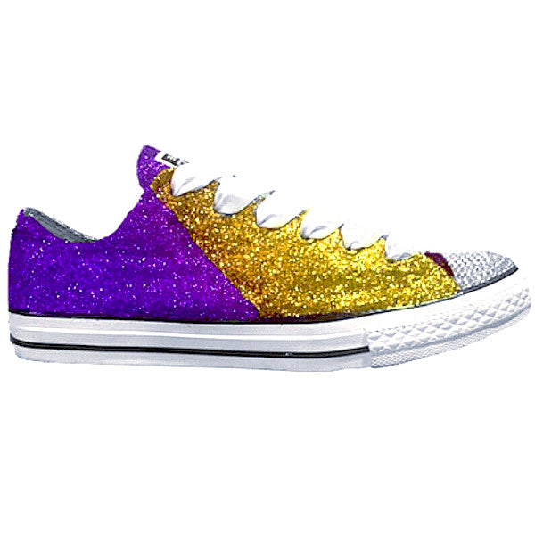 Converse All Star Glitter Sneakers Team Football Sports Shoes Purple Gold Ravens Vikings