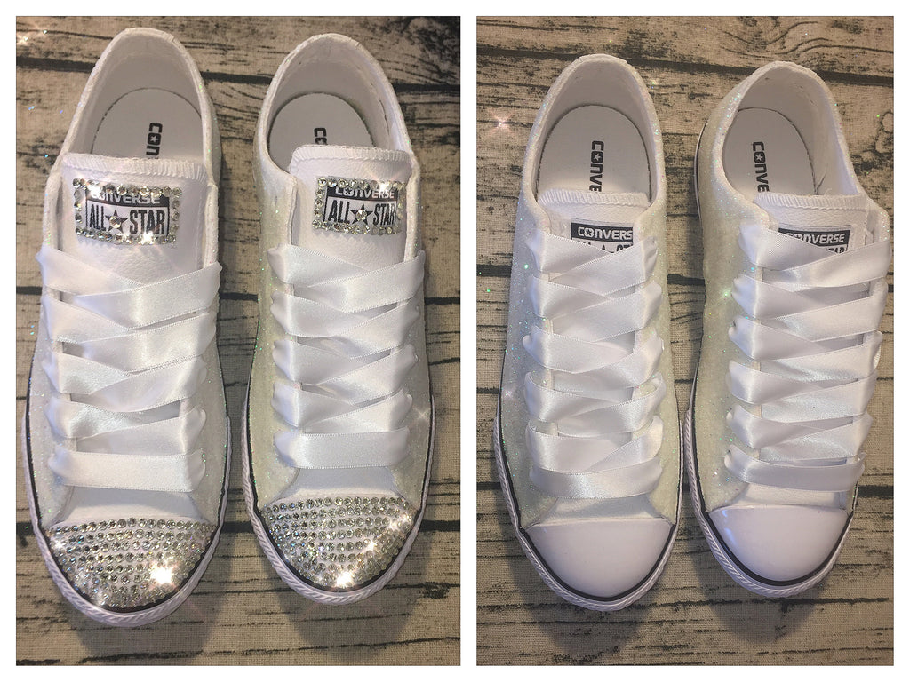 8c629b376af ... Sparkly White or Ivory Glitter bling Converse All Stars Bride Wedding  Shoes Sneakers ...