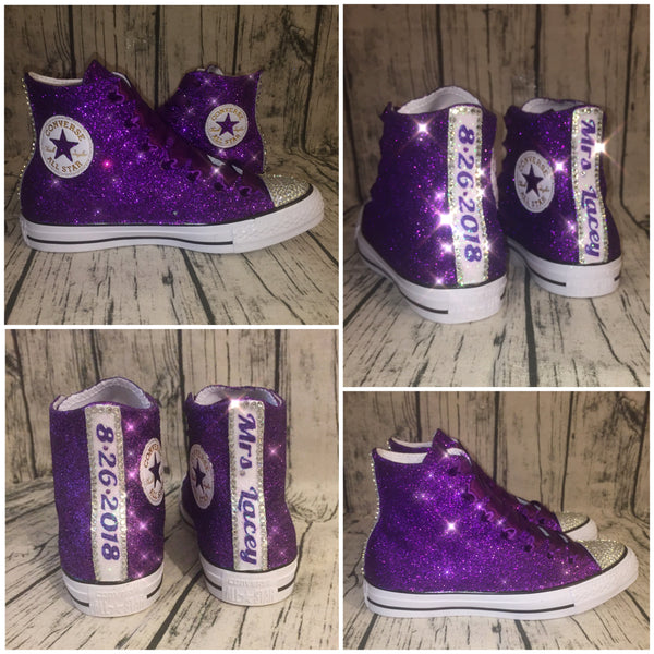 Women's Sparkly Glitter Converse All Stars High Top - Purple