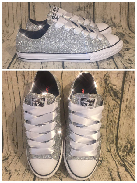 Womens Sparkly Silver Glitter Converse All Stars Sneakers Shoes wedding prom bride