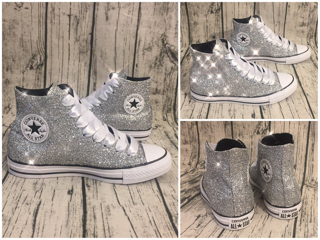 2e3df451418 ... Women s Sparkly Glitter Converse All Stars Silver Sterling Bling High  Top Wedding Bride Shoes ...