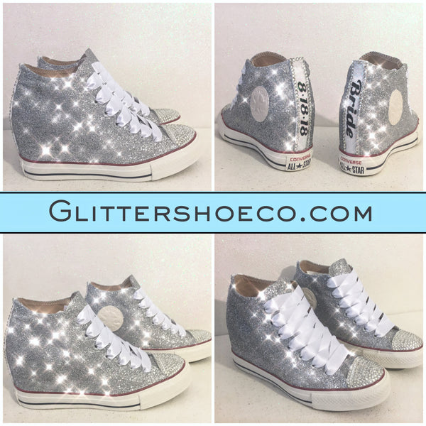 Women's Sparkly Silver Glitter Converse All Stars Lux Wedge Heel Wedding Bride Shoes