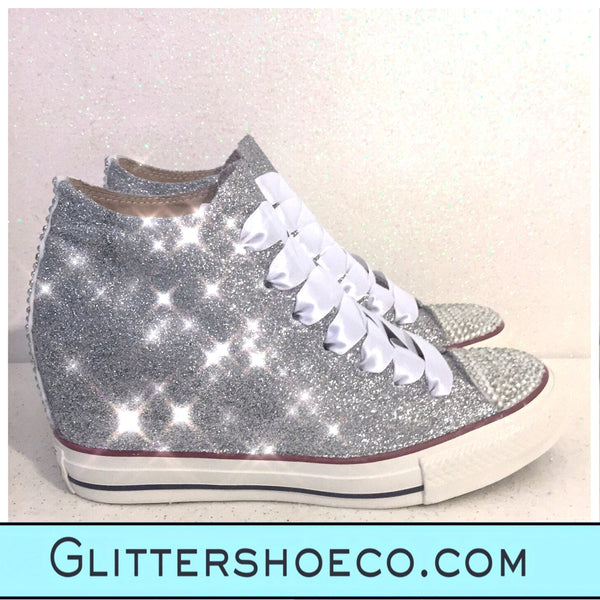 Women's Sparkly Glitter Converse All Stars Lux Wedge Heel - Silver