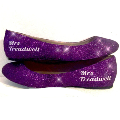 Women's Sparkly Purple Glitter Ballet Flats Wedding Bride Dance Shoes - Glitter Shoe Co
