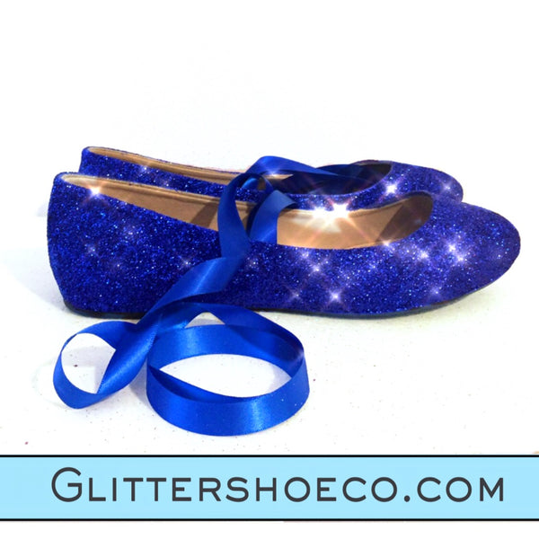 Sparkly Blue Glitter ballet Flats shoes wedding Bride satin tie ribbon