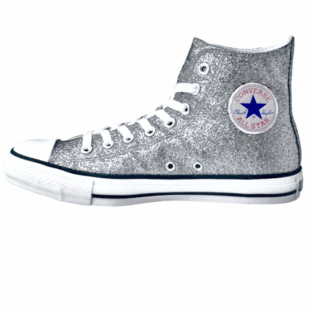 dcb1be51d58c60 Sparkly Glitter Converse Silver Bling High Top Wedding Bride Shoes – Glitter  Shoe Co