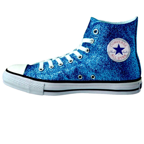Women's Sparkly Glitter Converse All Stars High Top Blue Turquoise - Glitter Shoe Co