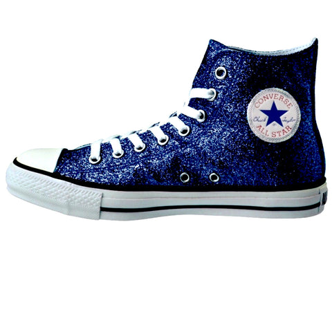 Women's Sparkly Glitter Converse All Stars High Top - Navy Blue