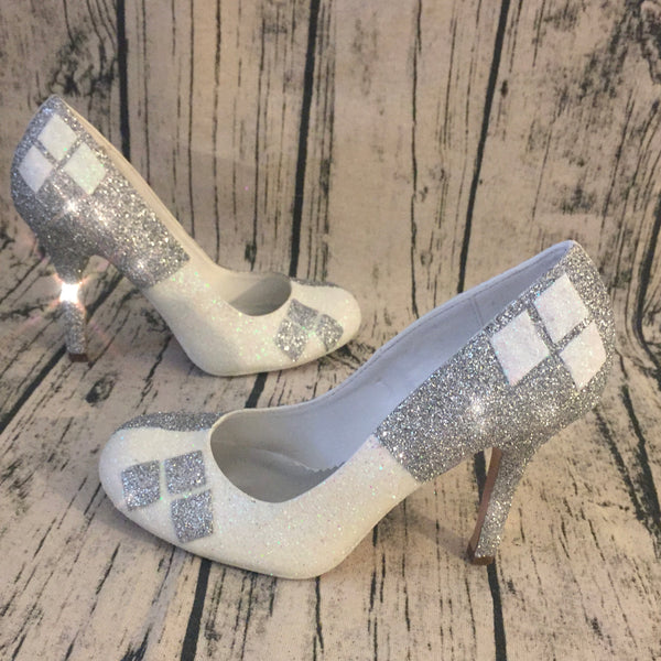 Women's Sparkly Superhero Silver White Glitter Heels shoes Harley Quinn wedding pumps