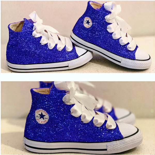 Kids Sparkly Glitter Converse All Stars Bling Crystals Flower Girls birthday Shoes Blue
