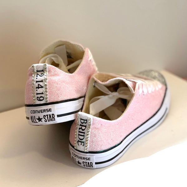 Women's Sparkly Glitter Converse All Star Sneakers - Light Pink