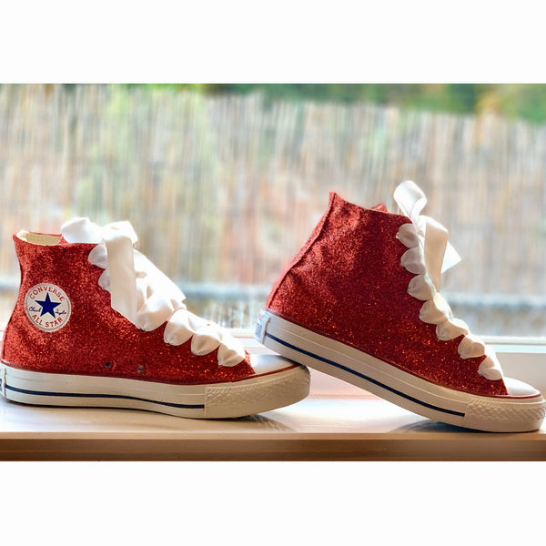 Women's Sparkly Glitter Converse All Stars High Top - Red