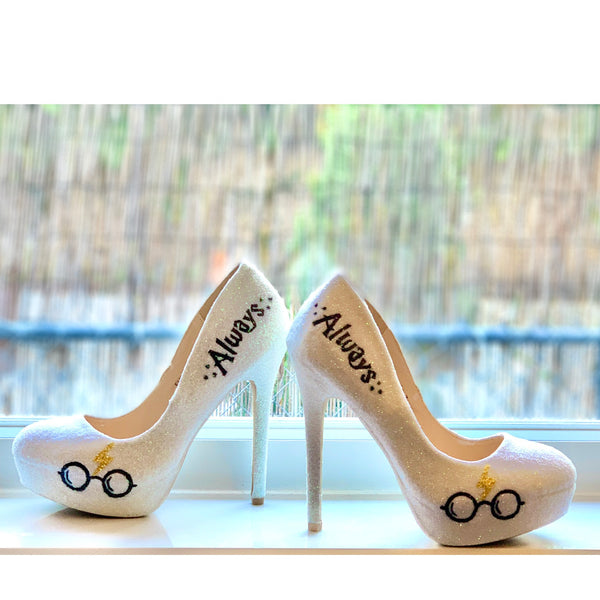Womens Sparkly White Ivory Glitter Heels Harry Potter Inspired Wedding bride Superhero Shoes