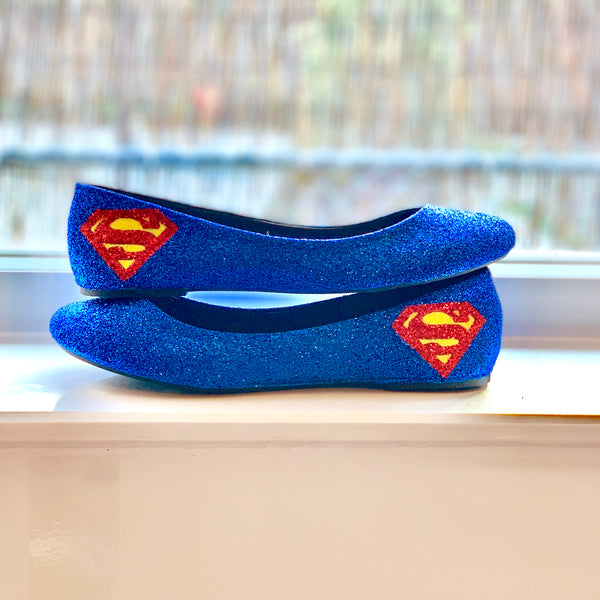 Women's Sparkly Blue Glitter Flats Superman Superhero Wedding Bride Shoes Geek
