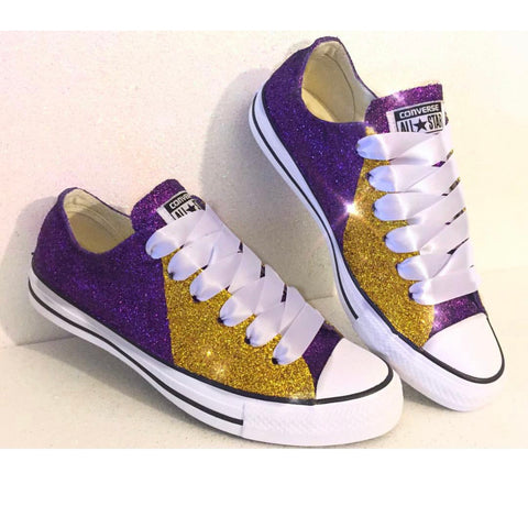 Women's Converse All Star Glitter Sneakers Team Spirit Football Sports Shoes Purple Gold