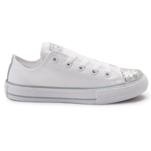 04211e09ff9fd3 ... clearance womens white sparkly silver glitter converse all stars shoes  wedding bride sneakers 02f1f c07c5