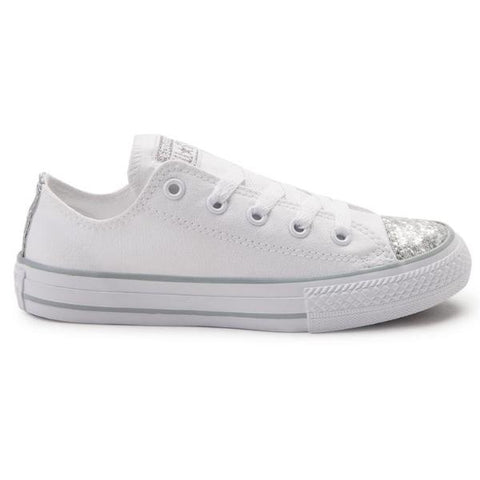 Womens White Sparkly Silver Glitter Converse All Stars Shoes wedding bride sneakers