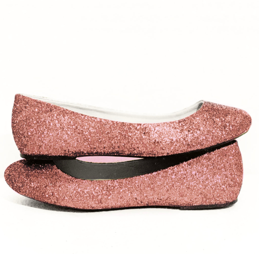 5acc313be721 ... Women s Sparkly Metallic Rose Gold Pink Glitter ballet Flats wedding  bride prom shoes ...