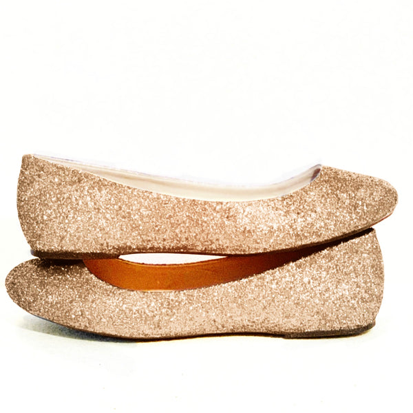 Sparkly Pale Gold Glitter Ballet Flats shoes wedding bride
