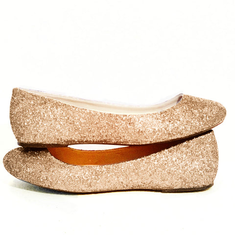 17f93510dee Sparkly Pale Gold Glitter Ballet Flats shoes wedding bride