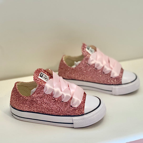 Toddler & Girls Sparkly Glitter Converse All Stars Crystals Sneakers Shoes - Rose Gold