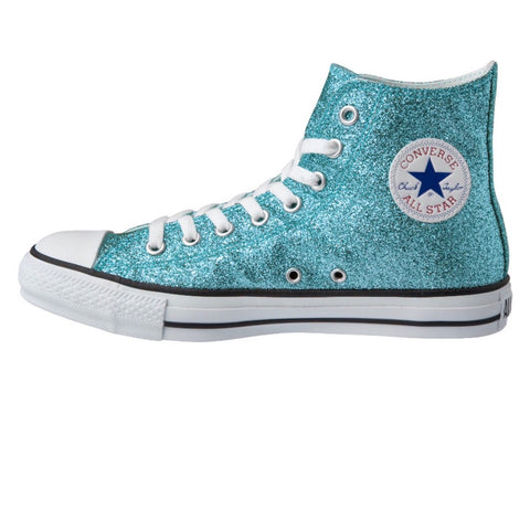 Women's Sparkly Glitter Converse All Stars Hi Top - Tiff Blue