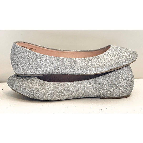 Women's Sparkly Silver Glitter Ballet Flats wedding bridal shoes