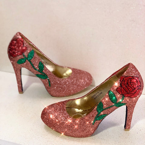 Women's Sparkly Rose Gold Glitter heels Pumps Bridal Wedding Shoes - Rose Beauty & the Beast