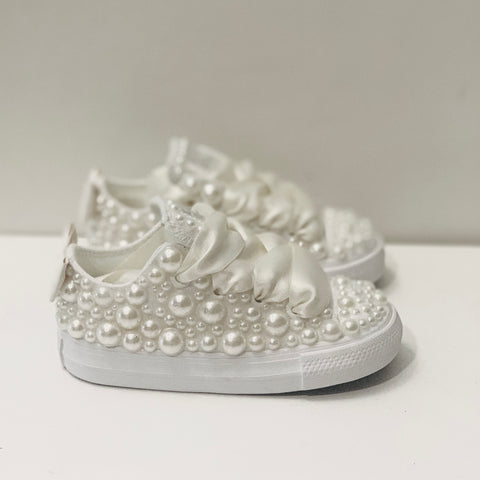 Kids Converse All Stars TRAINERS Chucks Pearls Flower Girl Baby Toddler Sneakers in White or Ivory