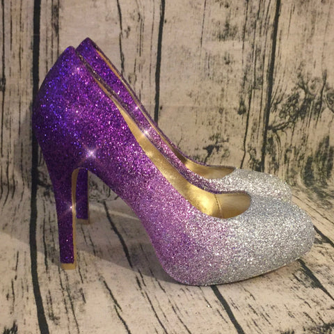 Women's Sparkly Silver Purple ombre Glitter high Low Heels wedding bride prom shoes