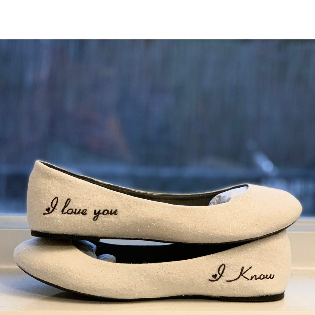 Women's Sparkly Ivory or White Glitter ballet Flats bride wedding shoes I love you I know