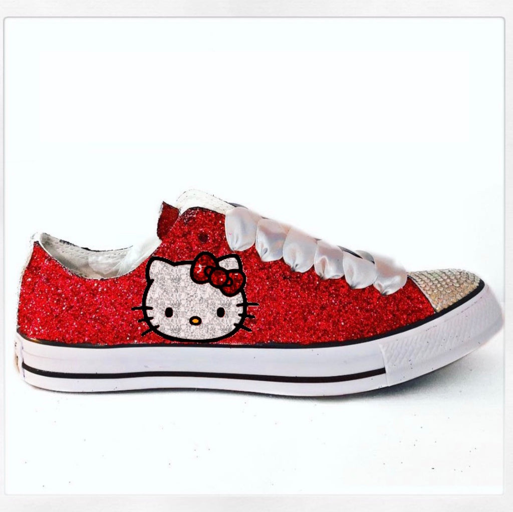 680afcfa2437be Women's Sparkly Red Glitter Converse All Star Hello Kitty Low high top –  Glitter Shoe Co