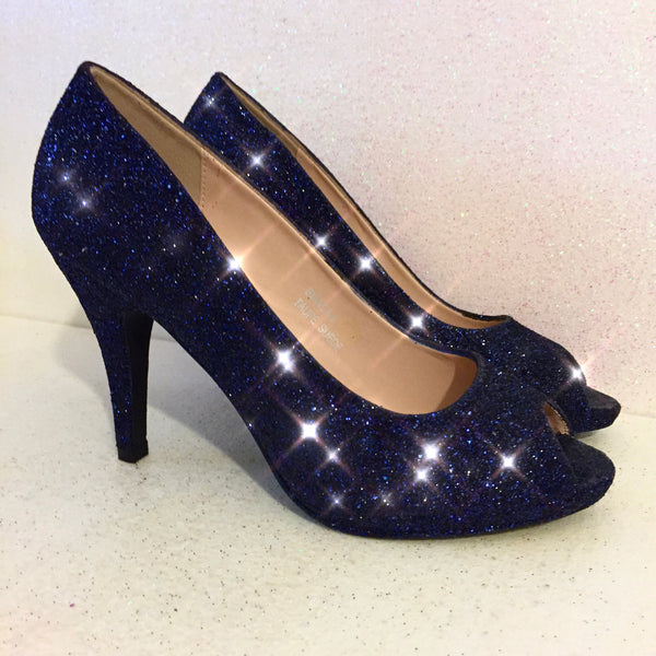 Women's Sparkly Navy Blue Glitter Pumps high Heels wedding bride prom shoes