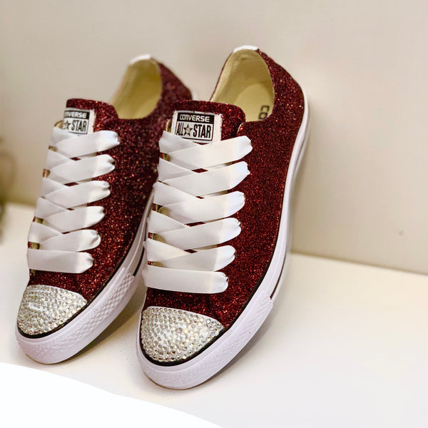 Sparkly Glitter Converse All Stars Burgundy Maroon Wine wedding bride sneakers shoes