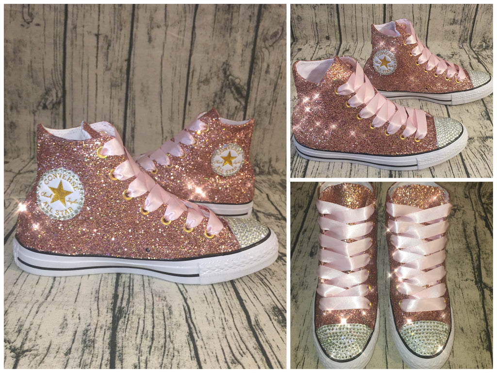... Womens Glitter Crystals Converse All Stars Metallic Rose Gold Pink Prom  Wedding Bride Shoes Sneakers ... 094568f8eee1