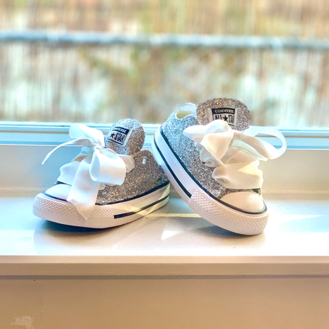 Girls Toddler Sparkly Glitter Converse All Stars Crystals Sneakers Shoes Silver