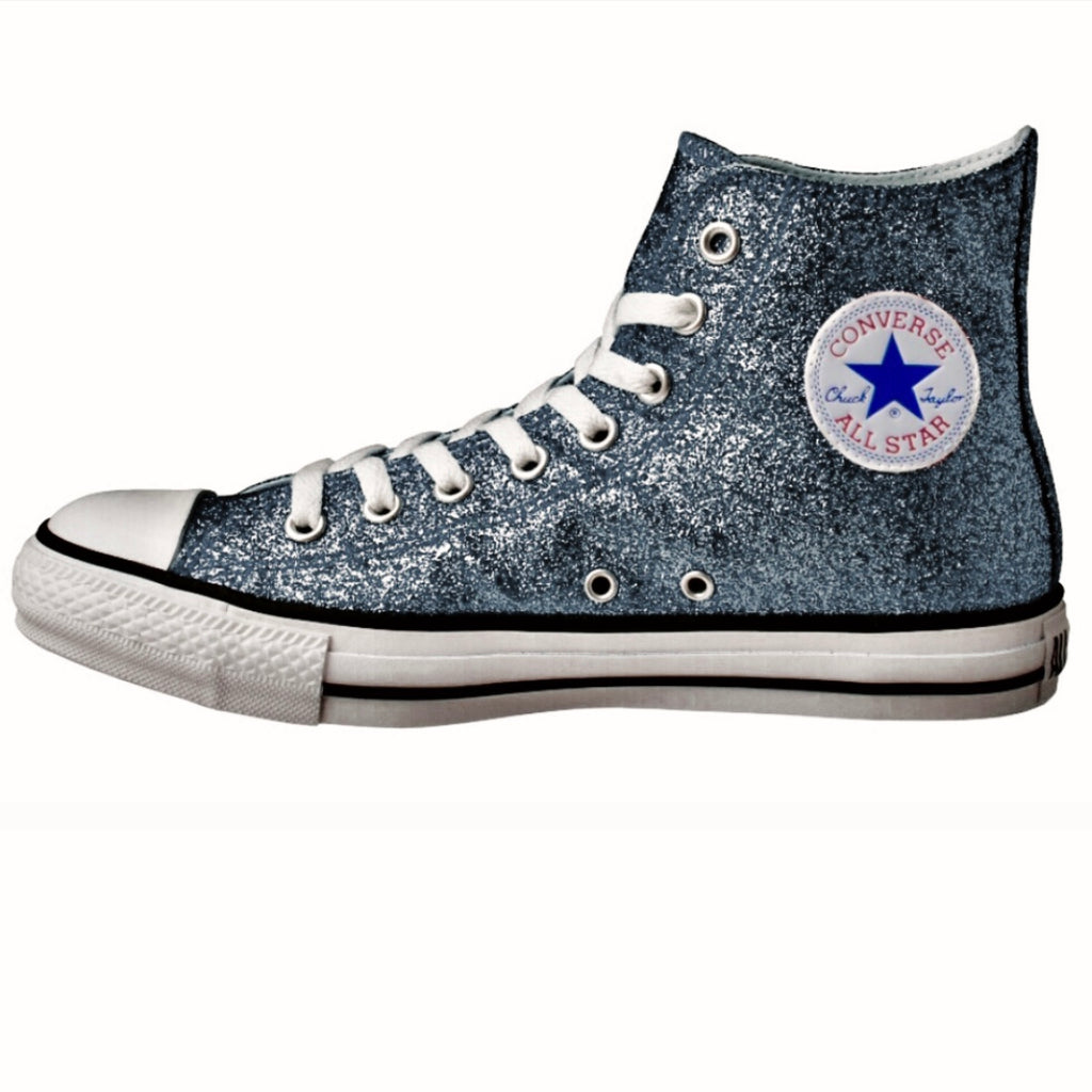 Women's Sparkly Glitter Converse All Stars High Top - Gunmetal
