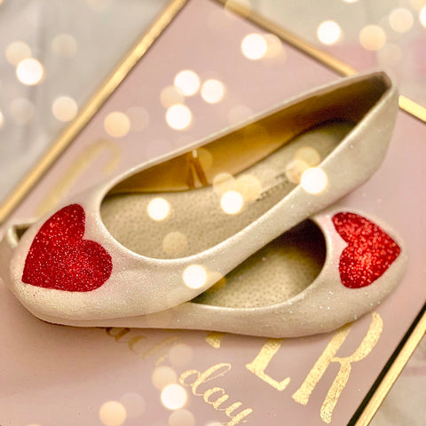 Sparkly HEARTS of LOVE White Glitter Ballet Flats bride wedding