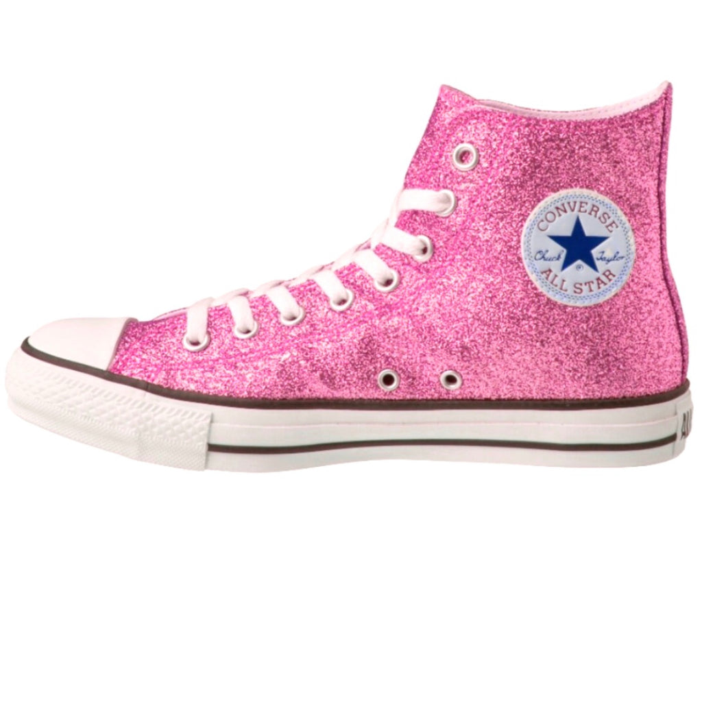 Women's Sparkly Glitter Converse All Stars Hi Top Pink prom bride sweet 16 - Glitter Shoe Co