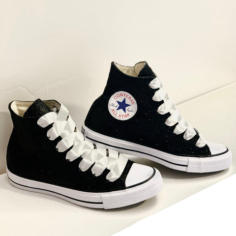 Women's Sparkly Black Glitter Converse All Stars high top wedding bride shoes