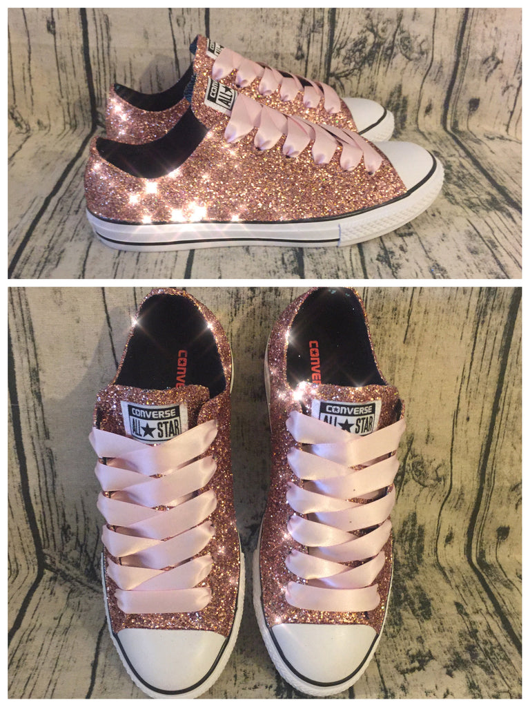 Sparkly Rose Gold glitter Converse All