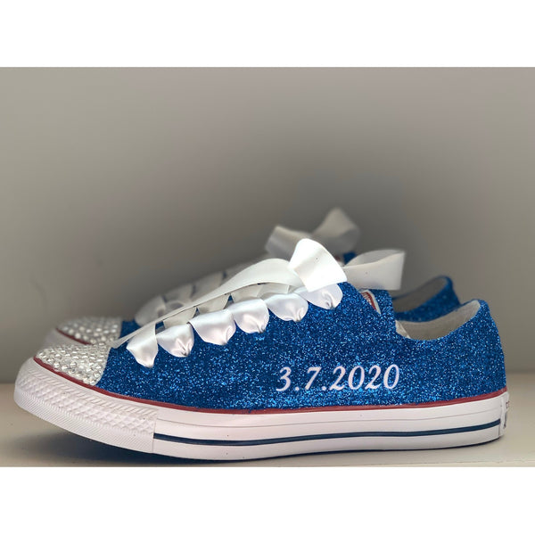 Converse All Stars Sparkly Glitter Wedding Bride Sneakers Something Blue Shoes