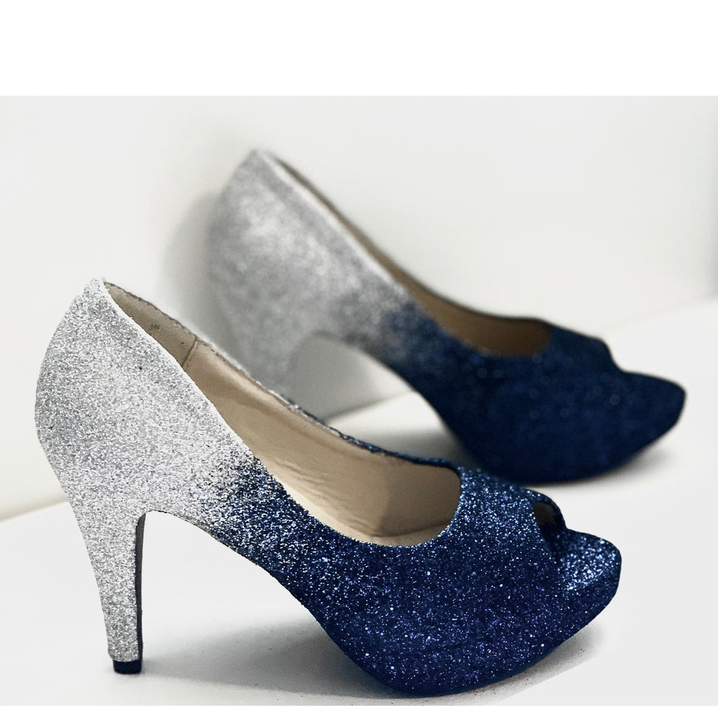 Women's Sparkly Navy Blue Silver ombre Glitter Heels wedding bride Prom shoes